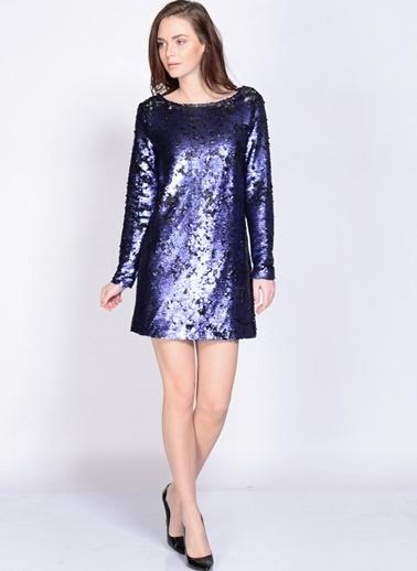 Mink Pink Sırt Dekolteli Payetli Mini Elbise Mavi